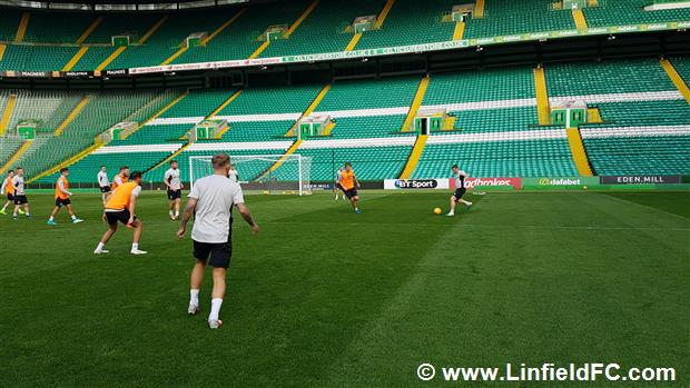 The Linfield Squad Trained At Celtic Park Last Night Ahead Of Tonights Champions League 2nd Round Leg Tie